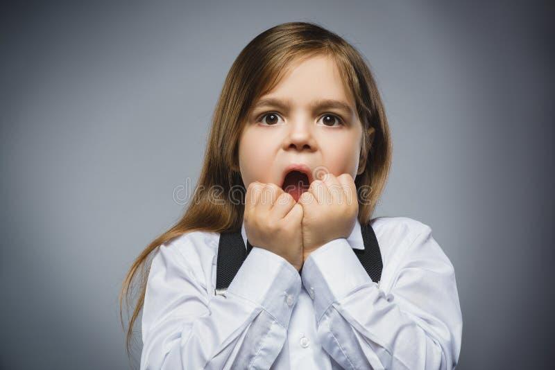 Retrato do close up da menina considerável com expressão surpreendida ao estar contra o fundo cinzento fotos de stock