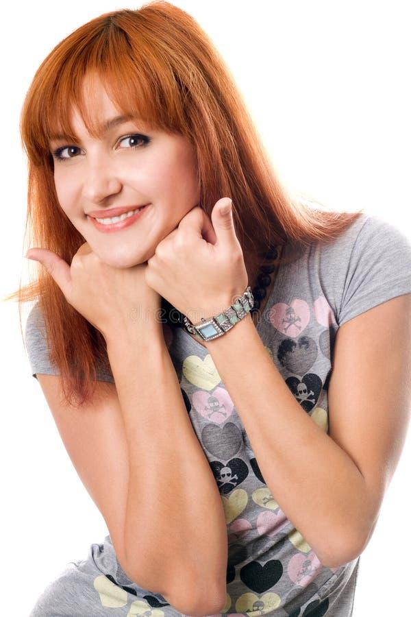 Retrato do Close-up da menina consideravelmente red-haired fotografia de stock royalty free
