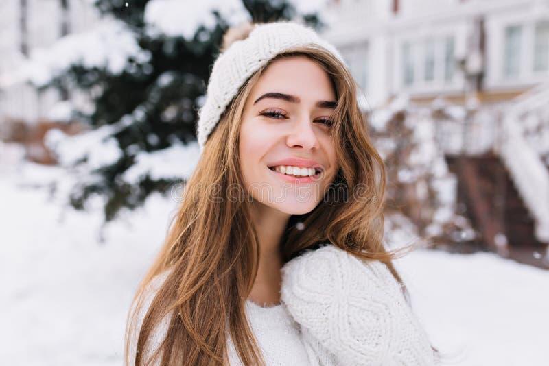 Retrato do close-up da menina de cabelos compridos sonhadora com olhos bonitos que passa o tempo exterior na manhã gelado Foto de imagem de stock royalty free