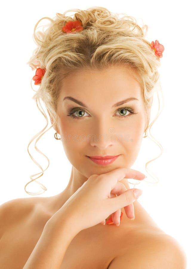 Retrato do close-up da mulher fotografia de stock