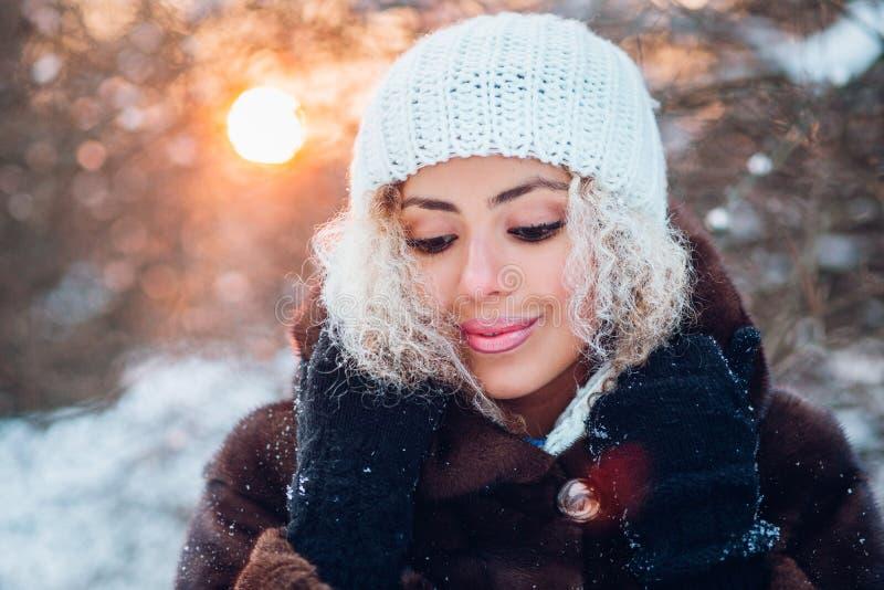 Retrato do close-up da mulher afro-americana nova bonita na floresta do inverno no por do sol foto de stock royalty free