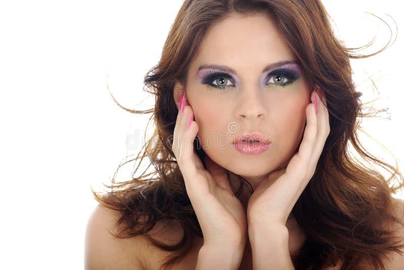 Retrato do Close-up da mulher bonita com professi fotografia de stock
