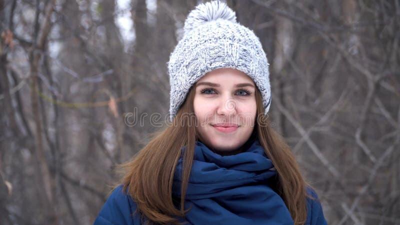 Retrato do close-up da mulher caucasiano de sorriso nova bonita no revestimento, no chapéu e no lenço do inverno Madeira nevado d fotografia de stock royalty free