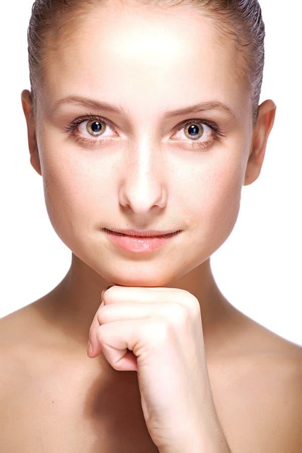 Retrato do close up da mulher da beleza foto de stock