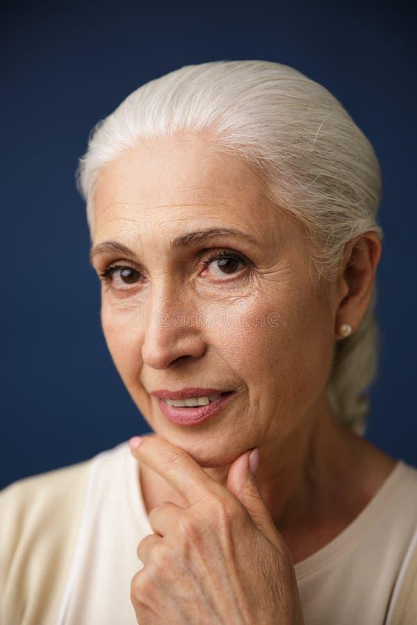 Retrato do close-up da mulher idosa bonita com cabelo de prata, h imagens de stock royalty free