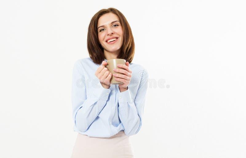 Retrato do close-up da mulher moreno bonita feliz alegre bonito agradável à moda bonita bonita atrativa na camisa clássica, guard imagem de stock royalty free