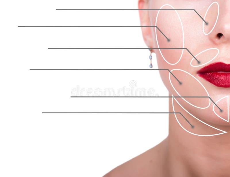 Retrato do close-up da mulher nova, fresca e natural com as setas pontilhadas em sua cara que aponta em áreas de uma cara Termas imagens de stock royalty free