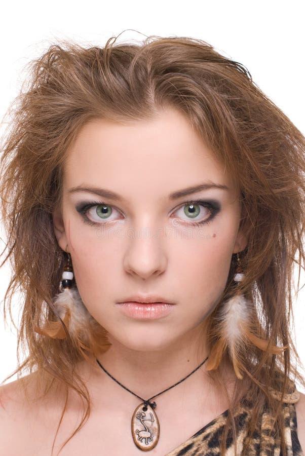 Download Retrato Do Close Up Da Mulher Selvagem Emocional Nova Foto de Stock - Imagem de fêmea, cosmético: 12806904