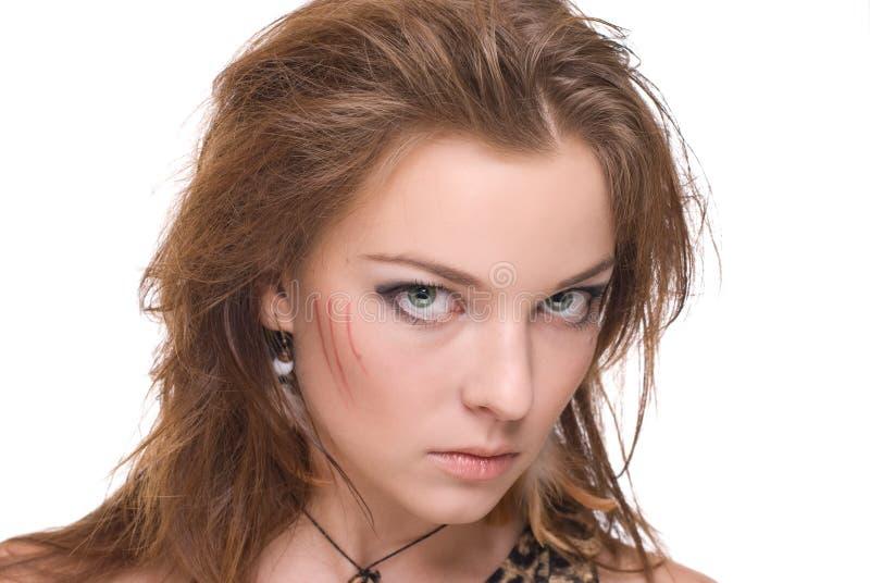 Download Retrato Do Close Up Da Mulher Selvagem Emocional Nova Foto de Stock - Imagem de cute, cunning: 12806924