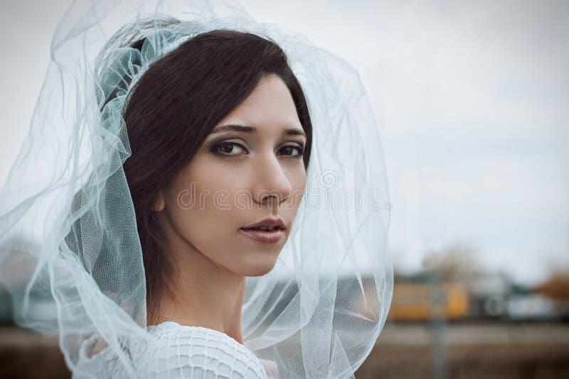 Retrato do close-up da noiva no véu branco Foto do casamento imagens de stock