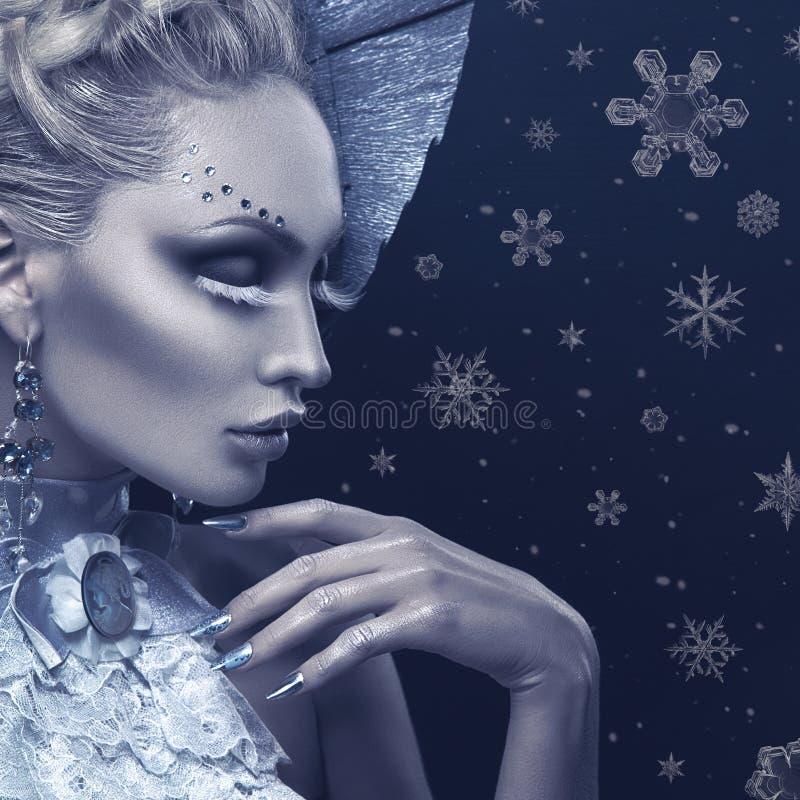 Retrato do close up da rainha do inverno foto de stock royalty free