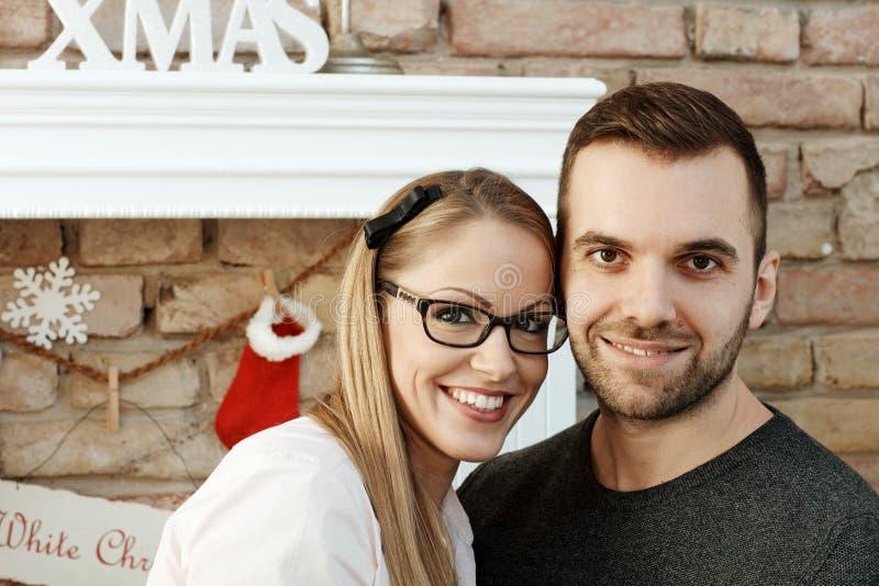 Retrato do close up de pares do Natal foto de stock