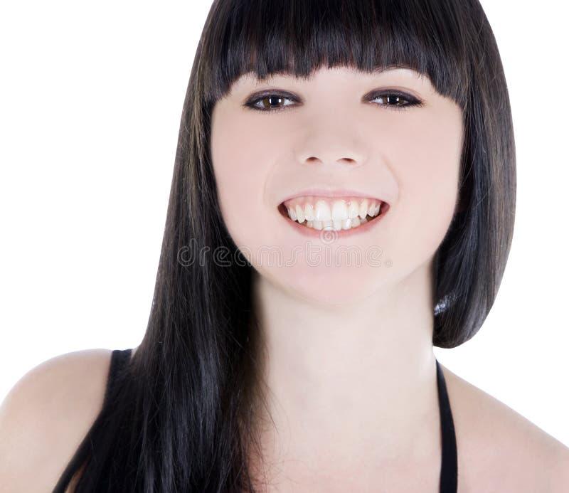 Retrato do close up de sorriso atrativo da mulher fotos de stock royalty free