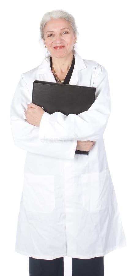 Retrato do close up de um doutor fêmea feliz fotografia de stock
