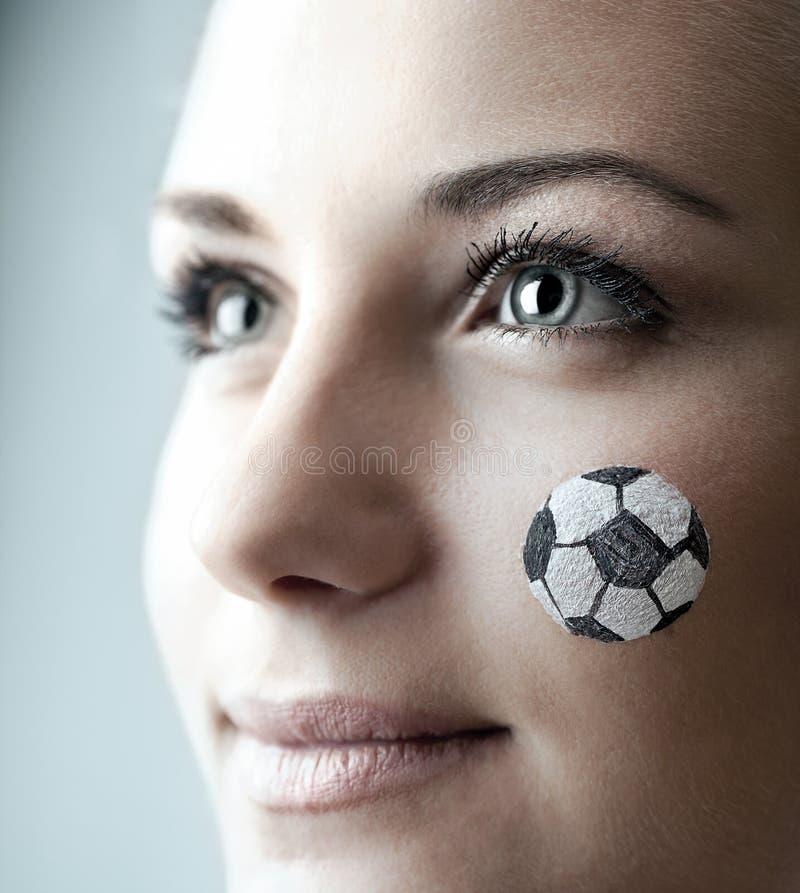 Retrato do close up de um fan de futebol feliz imagens de stock royalty free