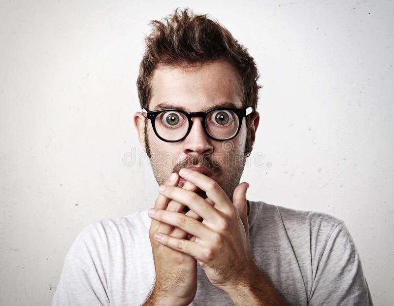 Retrato do close-up de um homem com vidros imagem de stock