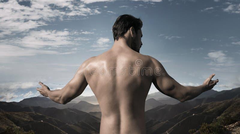 Retrato do close up de um homem considerável, muscular imagem de stock