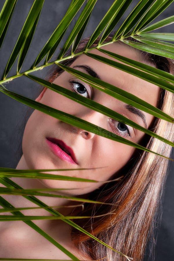 Retrato do close-up de uma jovem mulher s?ria imagem de stock royalty free