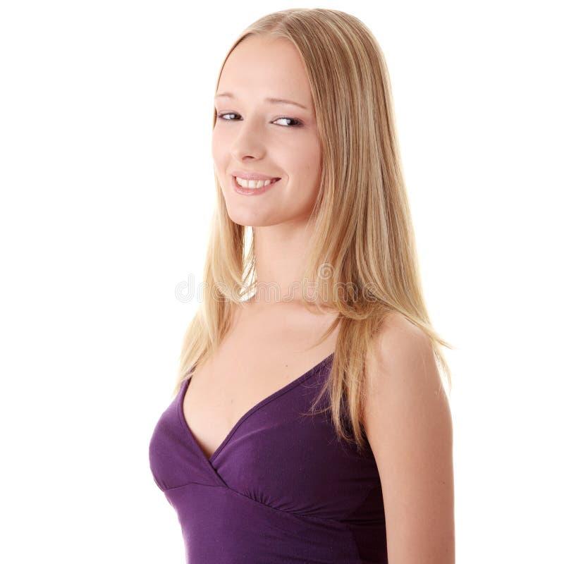 Download Retrato Do Close Up De Uma Mulher Nova Feliz Imagem de Stock - Imagem de cabeça, pose: 10053039
