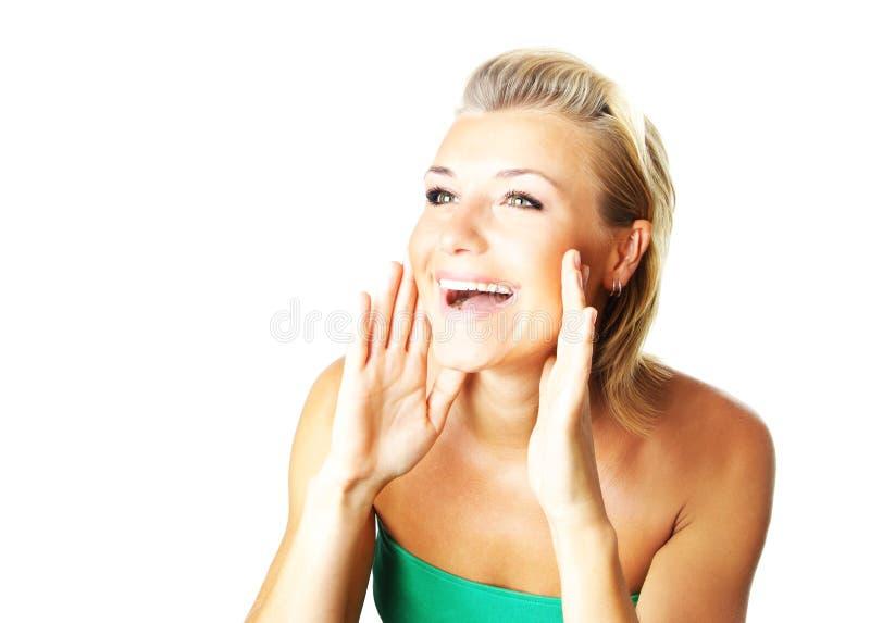 Retrato do close up de uma senhora nova feliz fotografia de stock royalty free