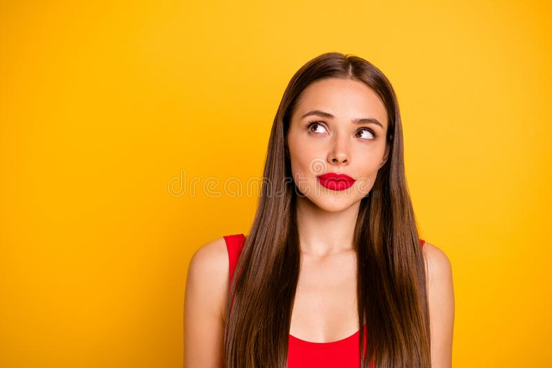 Retrato do close-up dela ela queolha o chique bonito atrativo que encanta a senhora reto-de cabelo encantador magnífica bonito imagem de stock