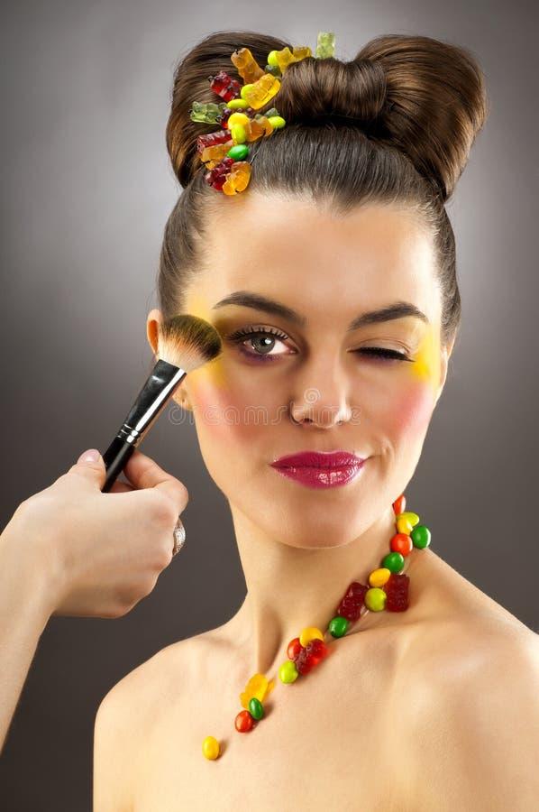 Retrato do Close-up do brunette bonito fotografia de stock royalty free
