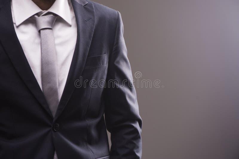 Retrato do close up do homem de negócios na camisa colarinho branco e do terno com laço imagens de stock royalty free