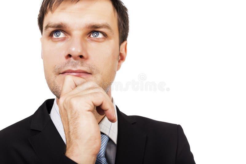 Retrato do close up do homem de negócios novo pensativo novo imagens de stock