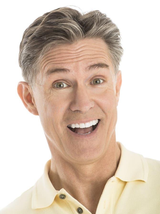 Retrato do close-up do homem maduro alegre foto de stock