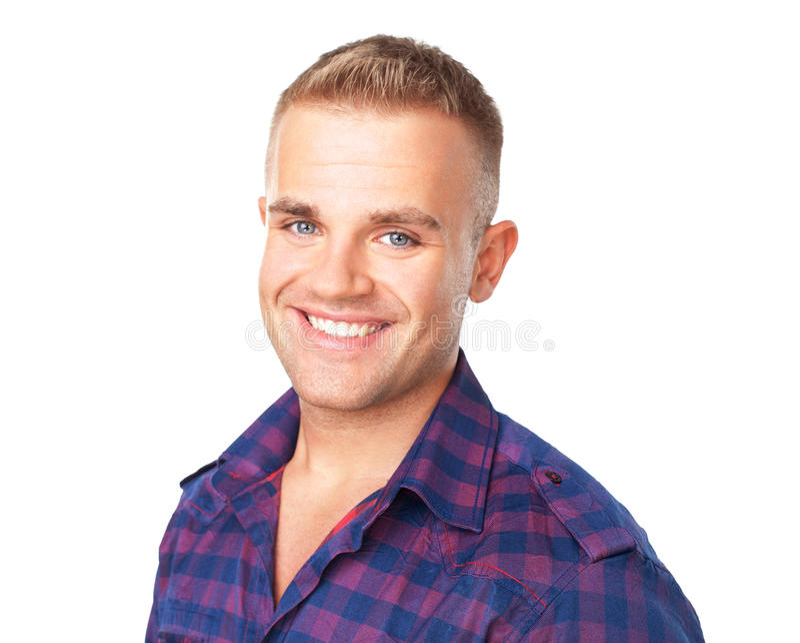 Retrato do close up do homem novo de sorriso feliz foto de stock royalty free