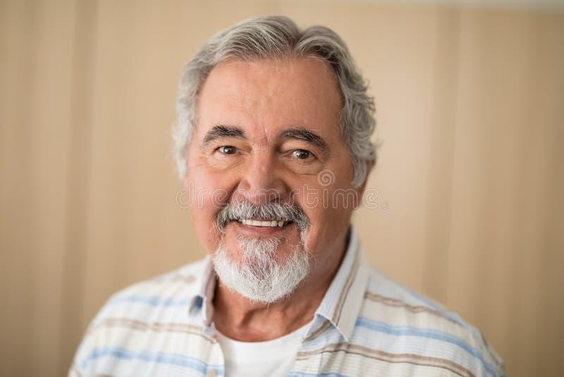 Retrato do close-up do homem superior contra a parede fotos de stock