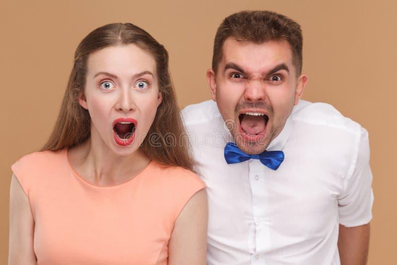 Retrato do close up do homem considerável louco e mulher ou yo bonito imagem de stock royalty free