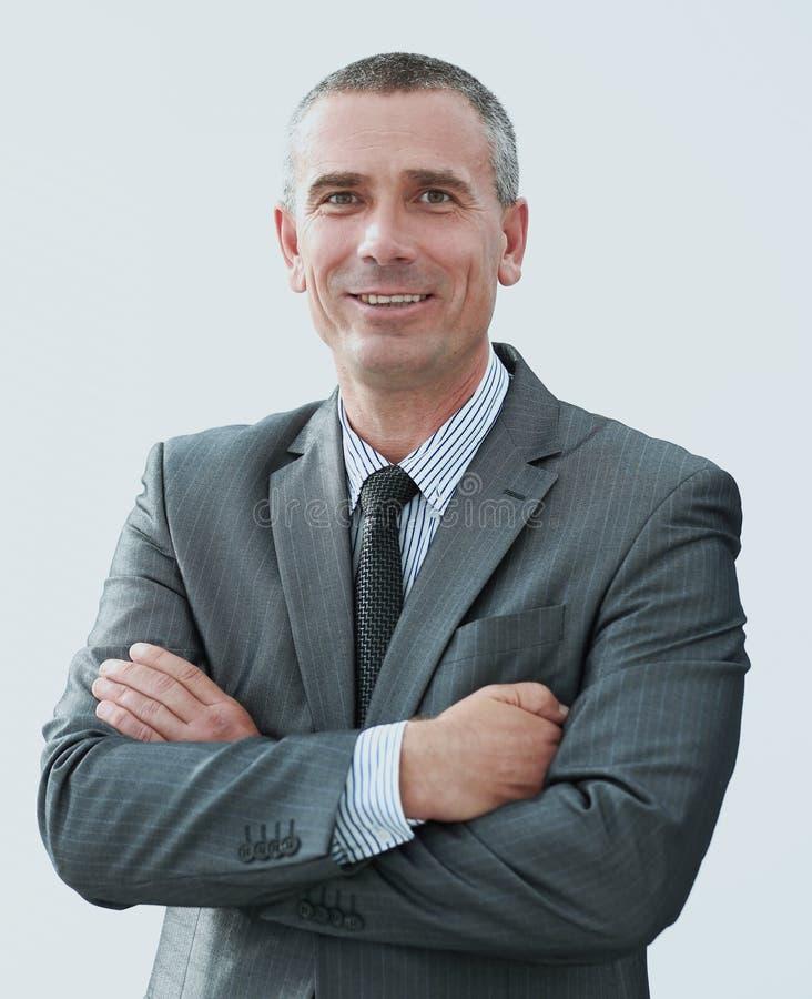 Retrato do close up do homem de negócios seguro na camisa e no laço fotos de stock royalty free