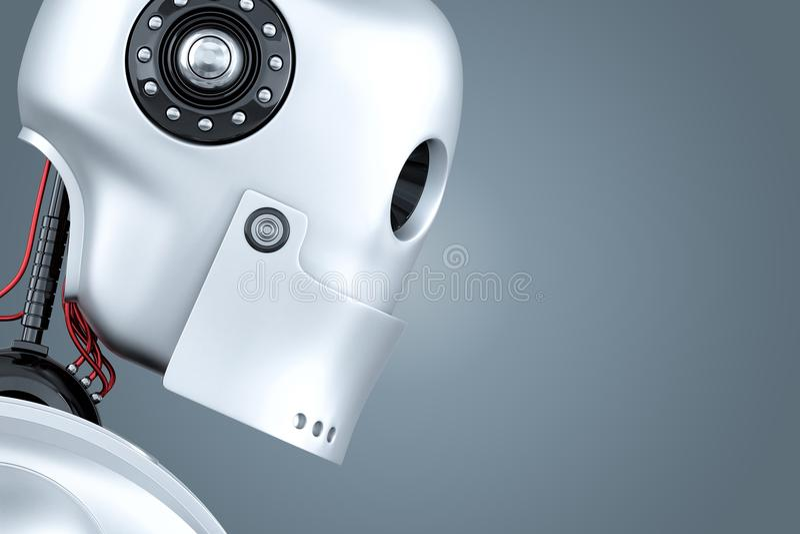 Retrato do close-up do robô ilustração 3D Contem o trajeto de grampeamento ilustração do vetor