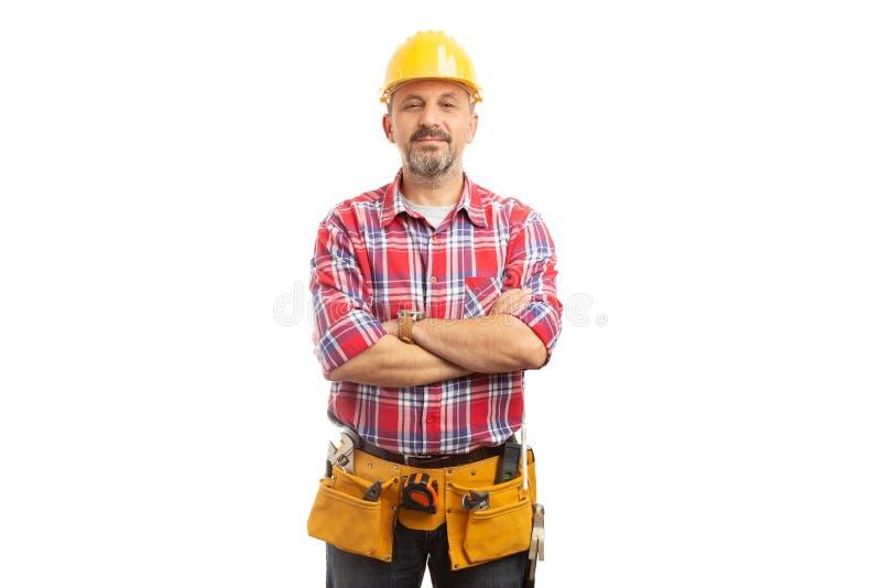 Retrato do construtor com expressão orgulhosa fotos de stock royalty free
