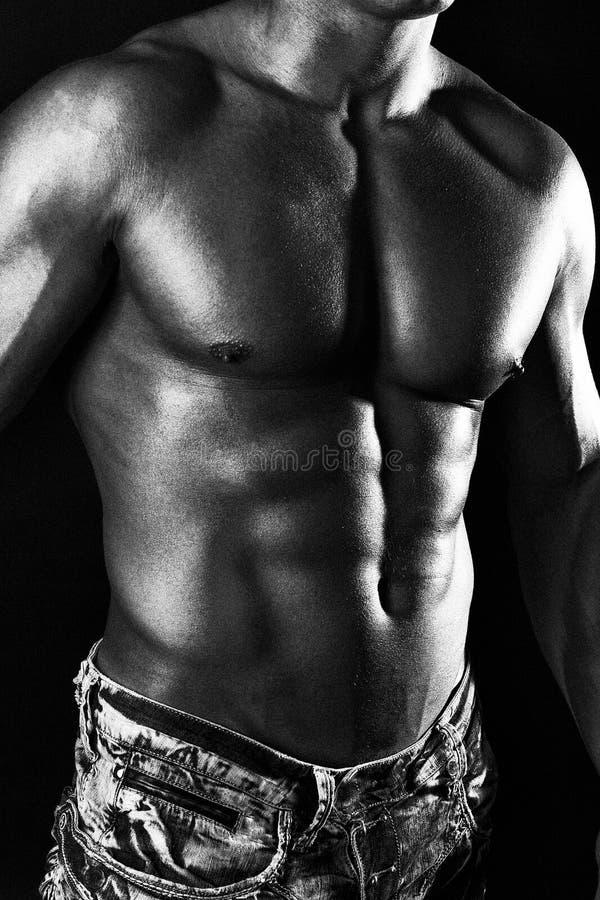 Retrato do corpo muscular nas calças de brim fotos de stock royalty free