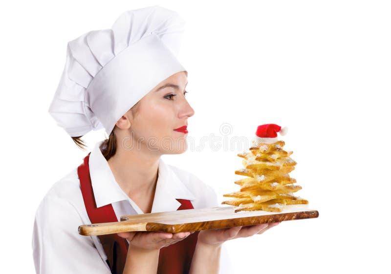 Retrato do cozinheiro chefe da mulher do Natal imagens de stock royalty free