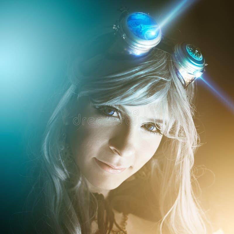 Retrato do Cyberpunk de uma mulher fotos de stock royalty free