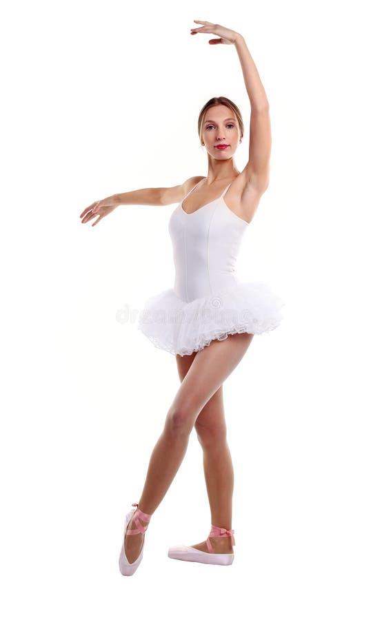 Retrato do dançarino de bailado no tutu sobre o branco imagem de stock royalty free