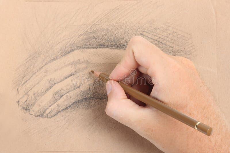 Retrato do desenho da mão do homem com palma imagem de stock