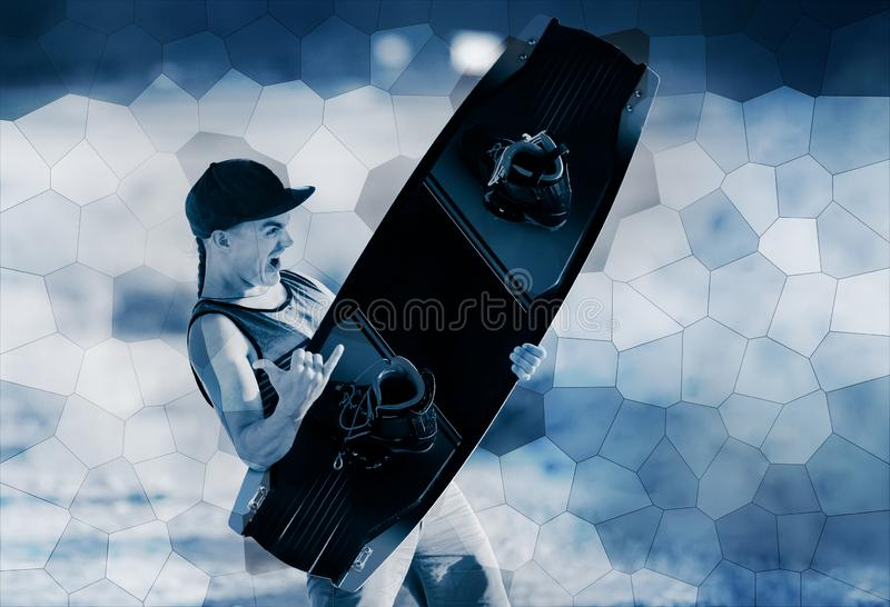 Retrato do desportista de Wakeboarding, esporte e estilo de vida ativo, arte abstrato e projeto textured do fundo para a imagem à fotos de stock
