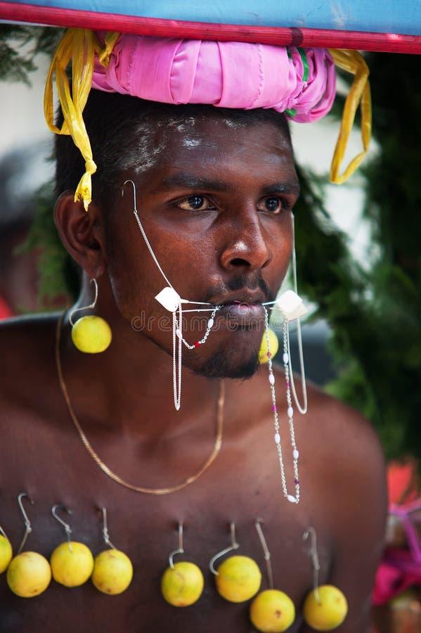 Retrato do devoto de Thaipusam mauritius fotos de stock royalty free