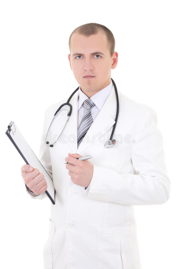 Retrato do doutor considerável novo isolado no branco foto de stock royalty free