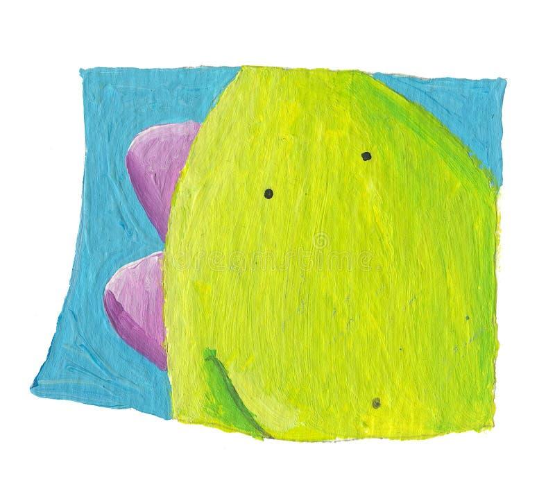 Retrato do dragão verde bonito ilustração royalty free