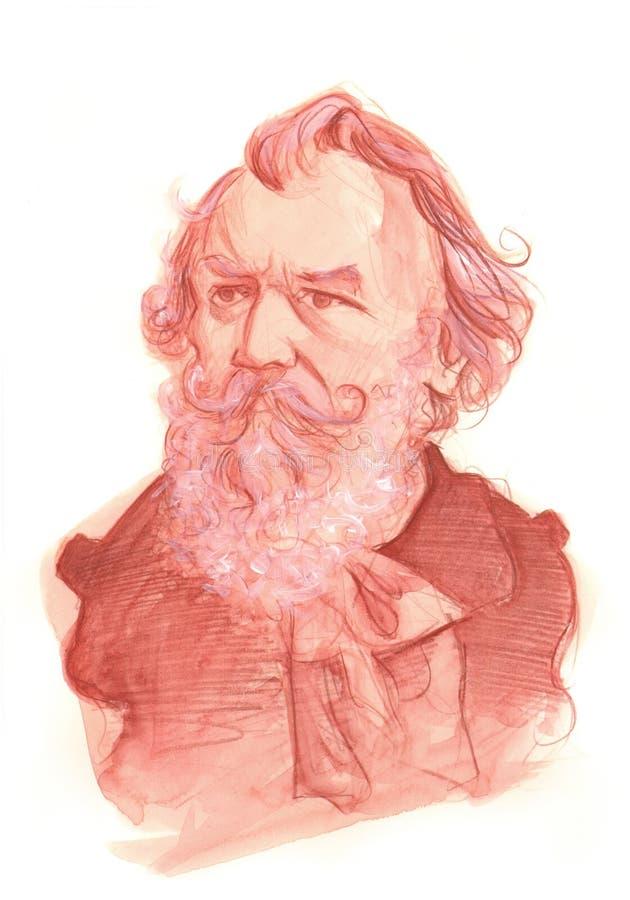 Retrato do esboço do Watercolour de Johannes Brahms foto de stock royalty free
