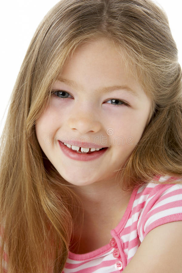 Retrato do estúdio da menina de sorriso fotografia de stock