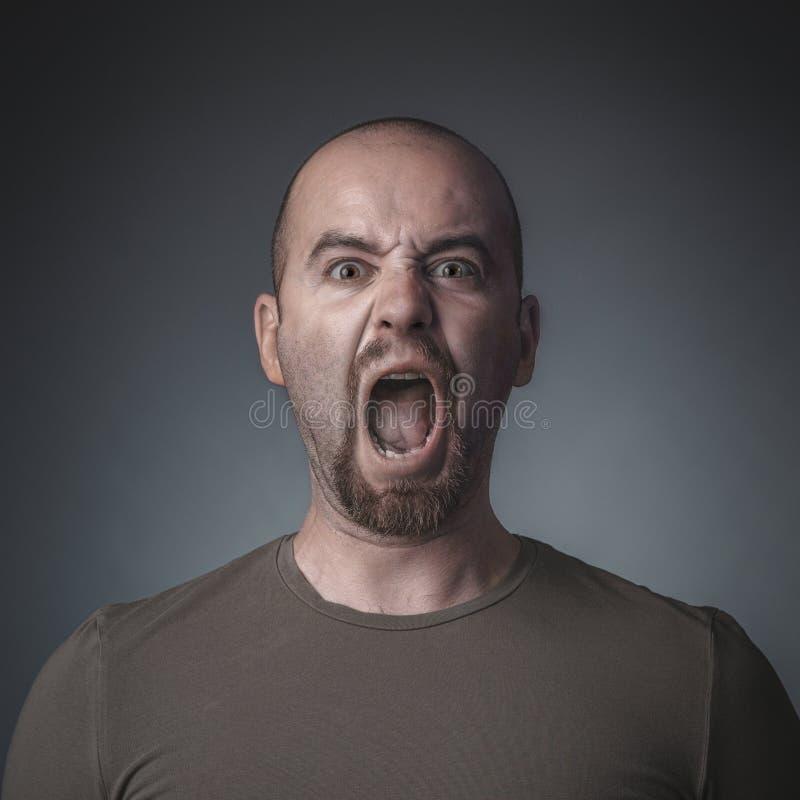 Retrato do estúdio de um homem gritando foto de stock