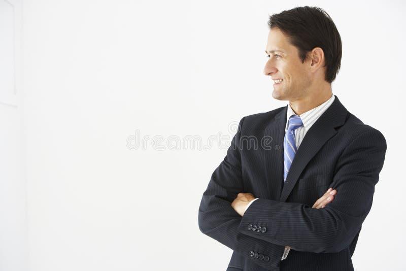 Retrato do estúdio do fundo de Standing Against White do homem de negócios foto de stock
