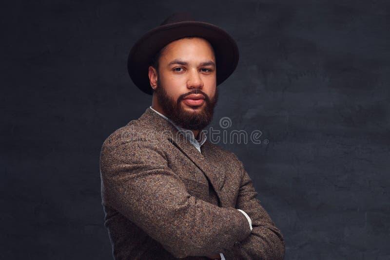 Retrato do estúdio do homem afro-americano considerável em um revestimento e em um chapéu marrons elegantes fotos de stock