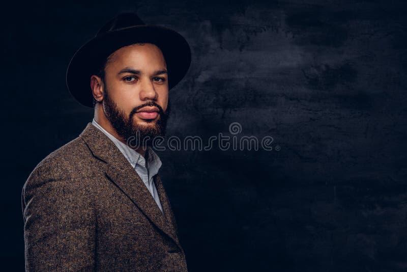 Retrato do estúdio do homem afro-americano considerável em um revestimento e em um chapéu marrons elegantes foto de stock royalty free